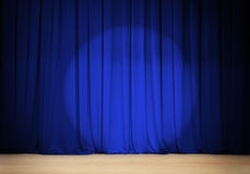 Theater blue curtain with wooden stage Royalty Free Stock Photos