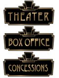 Art Deco Theater Box Office Sign Plaque. Theater Box Office Art Deco Concessions Signs Elegant 1920s 1930s 1940s Gold and Black Isolated royalty free illustration
