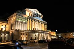 Theatre building in Warsaw Poland in night illumination stock photography