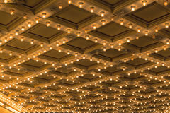 Theater Ceiling Marquee Lights details. Theater ceiling retro marquee lights on Broadway Royalty Free Stock Image