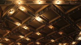 Theater Ceiling with Retro Flashing Marquee Lights in Downtown 1080p stock video