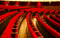 Theater chairs. Theater auditorium red velvet chairs Royalty Free Stock Photography