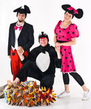 Theater Characters in Costumes. Several characters in costumes including minnie and mickey mouse, a penguin and sonic the hedgehog royalty free stock photo