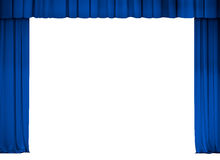 Theater or cinema blue curtain frame isolated. On white Stock Photos
