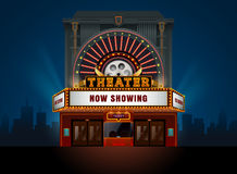 Theater cinema building. Vector easy to change color and object stock illustration