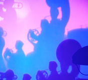 The Theater of colored shadows. abstract image of orchestra musicians and conductor. Stock Photography