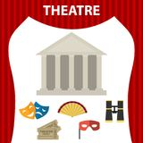 Theater. Composition of a set of theatrical objects. Isolated theatrical objects on white background. Flat design,  illustration Stock Photography
