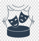 Theater concept in the form of theatrical masks. The theater concept in the form of theatrical masks on the background of the stage. Icon in the linear style Royalty Free Stock Images