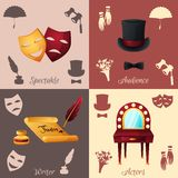 Theater Concept Set. Theater design concept set with spectacle audience writer and actors icons isolated vector illustration Royalty Free Stock Photography