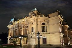 Theater in Cracow at night Stock Image