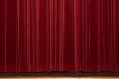 Theater curtain. A closed red curtain from a theater Royalty Free Stock Photos