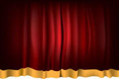 Theater Curtain. Red Theater Curtain with orange strip - vector illustration Stock Photo