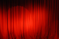Theater Curtain Background. Red Velvet Stage Curtains with Stage Floor Stock Image