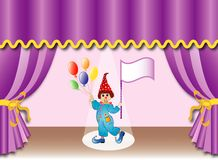 Theater curtain with clown, eps Royalty Free Stock Photos