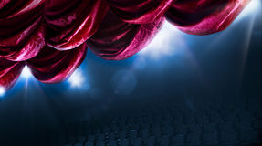 Theater curtain with dramatic lighting. And lens flare Royalty Free Stock Photo