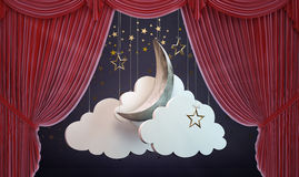 Theater curtain with moon Royalty Free Stock Photos