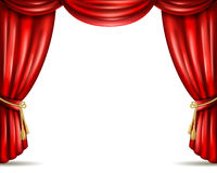 Theater curtain open flat banner illustration Royalty Free Stock Photography