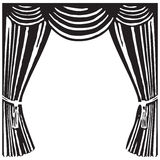 Theater curtain. Open theater curtain - a symbol of the theater. Vector illustration Royalty Free Stock Photography