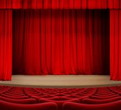 Theater curtain on stage with red seats 3d illustration Stock Photography