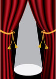 Theater curtains. Red velvet theater curtains and spot light stock illustration