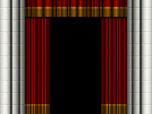 Theater curtains. Open theater curtains / drapes with stone columns Stock Images