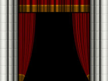 Theater curtains. Open theater curtains / drapes with stone columns Stock Image