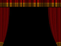 Theater curtains. Open theater curtains / drapes with top drape Royalty Free Stock Images