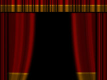 Theater curtains. Open theater curtains / drapes with top drape Royalty Free Stock Photo