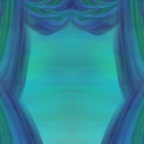 Theater Curtains, abstract blue and green background. Illustration Royalty Free Stock Photography