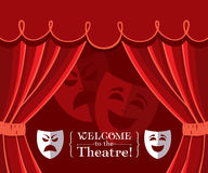 Theater curtains with masks. Red theater curtains with traditional masks icons Royalty Free Stock Photography