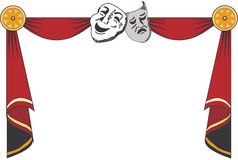 Theater curtains with masks. Theatrical mask on a red background. Mesh. Clipping Mask Royalty Free Stock Image