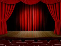 Theater curtains and red seats Stock Photos