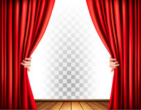 Theater curtains with a transparent background. Stock Photo