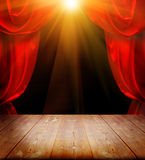 Theater curtains. And wood floor Stock Photo