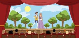 Theater de bouwbinnenland vector illustratie