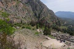 Theater in Delphi, Griekenland Stock Afbeeldingen