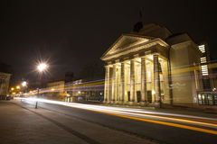 Theater detmold germany in the evening with traffic lights. The theater detmold germany in the evening with traffic lights Royalty Free Stock Images