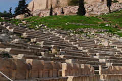 Theater of dionysus from below in acropolis Royalty Free Stock Images