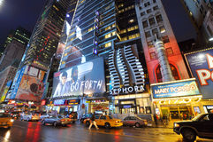 Theater District at night, Manhattan, NYC Stock Photography