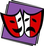 Theater drama masks vector illustration Royalty Free Stock Photography