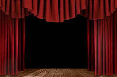 Theater Drapes With Wood Floor stock photography