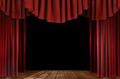 Theater drapiert mit hölzernem Fußboden Stockfotografie