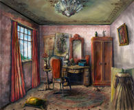 Theater dressing room. Small dressing room in a Victorian theater royalty free illustration