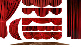 Theater Elements to Create Your Own Stage Backgrou. Dramatic red old fashioned elegant theater stage elements of swags to make your own background Royalty Free Stock Image
