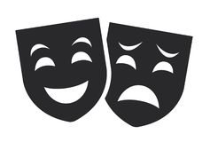 Theater mask symbols vector set, sad and happy concept Royalty Free Stock Images