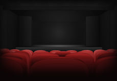 Theater empty interior scene with red seats in auditorium vector Royalty Free Stock Photography