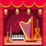 Theater en het klassieke stadium van het muziekoverleg, vector vlakke illustratie Muziekinstrumenten op scènepodium stock illustratie