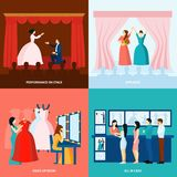Theater 4 flat icons square banner Stock Photos