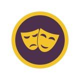Theater glücklich und traurige Masken lokalisiert auf weißem Hintergrund Lizenzfreie Stockfotos