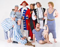 Theater Group. A group of theatrical actors in costumes of different characters Stock Photo